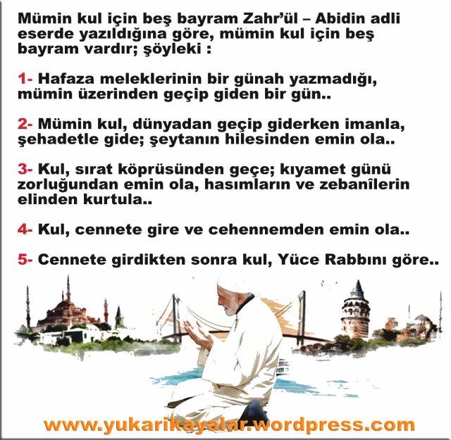 Mümin kul için beş bayram,Zahr'ül – Abidin