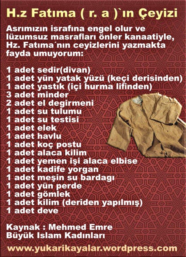H.z Fatıma ( r. a )`ın Çeyizi