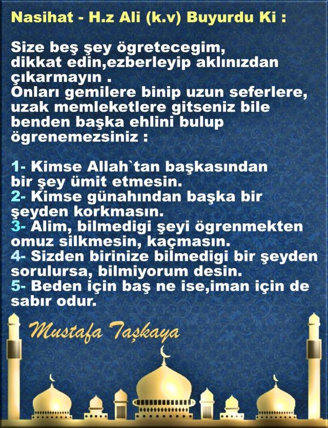 Nasihat - H.z Ali (k.v) Buyurdu Ki