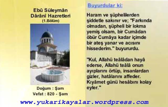 Ebû Süleyman Dârânî (k.s.) Kimdir
