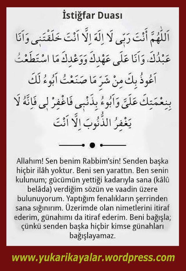 Seyyidü'l-İstiğfâr,istigfar duası