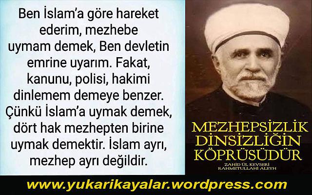 Mezhepsiz-lik dinsizliğe götüren köprüdür,Bana Kuran yeter.Sünnet diye bir şey yoktur.Hadisler uydurmadır.Şefaat yoktur.Kabir ziyareti yoktur.